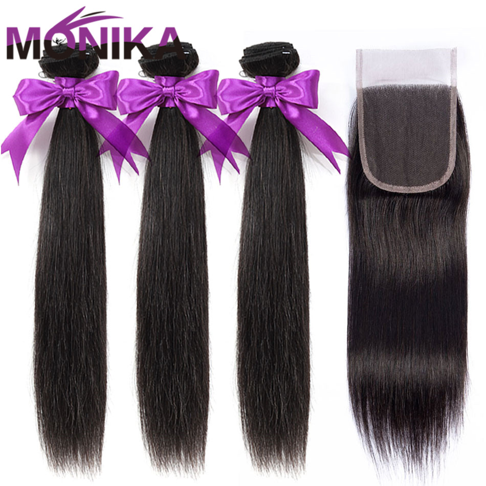 Monika 30 Inch Peruvian Hair Bundles With Closure Straight Hair 3 Bundles With Closure Non-Remy Human Hair Bundles With Closure