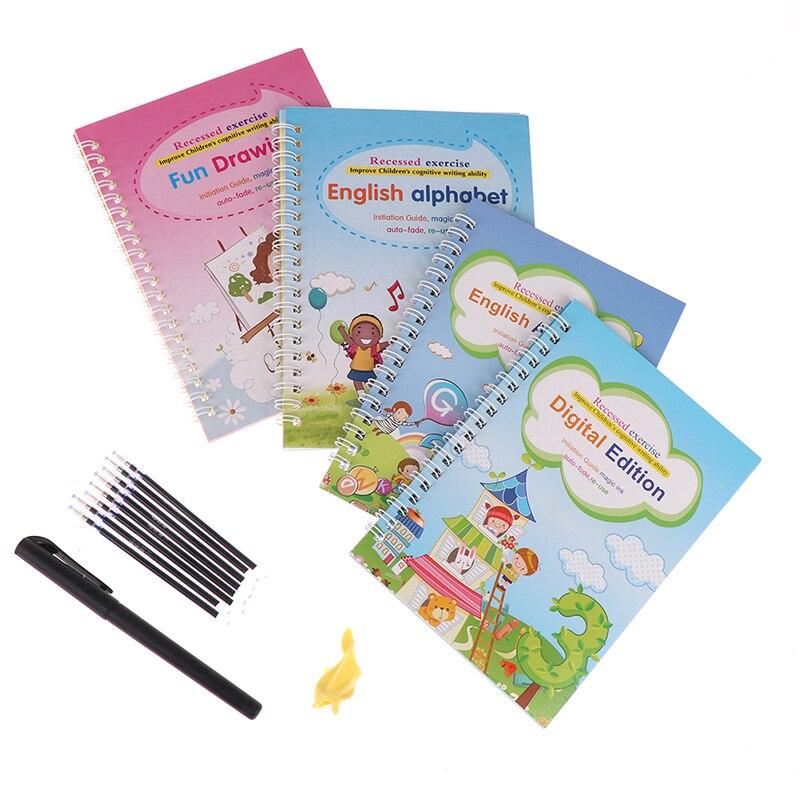 4 Boeken/Sets Van Kinderen Magische Boeken, Herbruikbare 3D Kalligrafie Copybooks, engels Nummer Belettering Magic