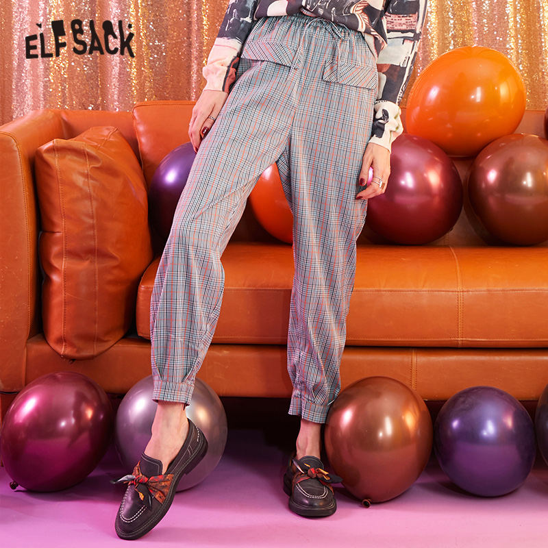 ELFSACK Gray Plaid Brit Graphics Casual Women Harem Pants 2019 Autumn Pocket Bottom Zipper Straight Office Ladies Daily Trousers