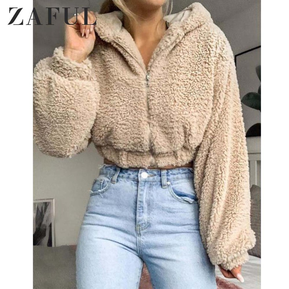 newest collection great fit reasonably priced ZAFUL Hooded Zip Up Fluffy Teddy Jacket Women Faux Wide Waisted ...