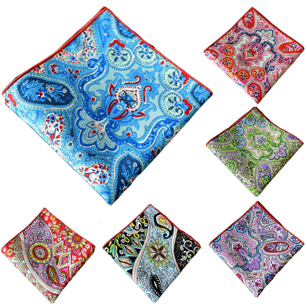 Men's Handkerchief Paisley Floral Printed Cotton Colorful Pocket Square Hanky