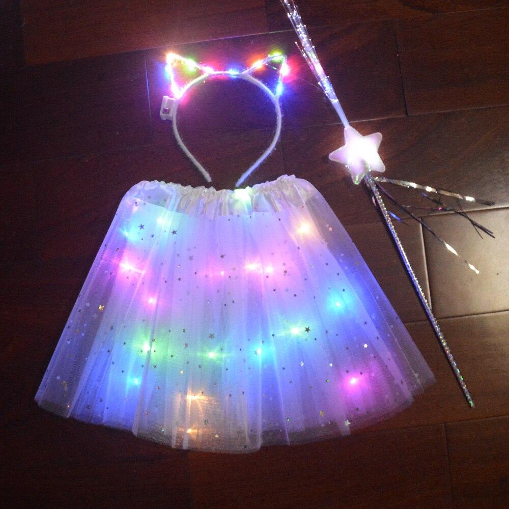 Девочки; дети LED юбка-пачка Пасхальный День рождения Свадебная вечеринка, Одежда для танцев, многослойное платье с фатиновой юбкой светильн...