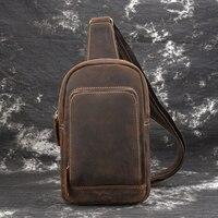 MAHEU Vintage Mens Taille Tasche Einzelnen Schulter Brust Tasche Sling Bag Pack Outdoor Sport Reiten Radfahren Front Taschen Aus Echtem Leder