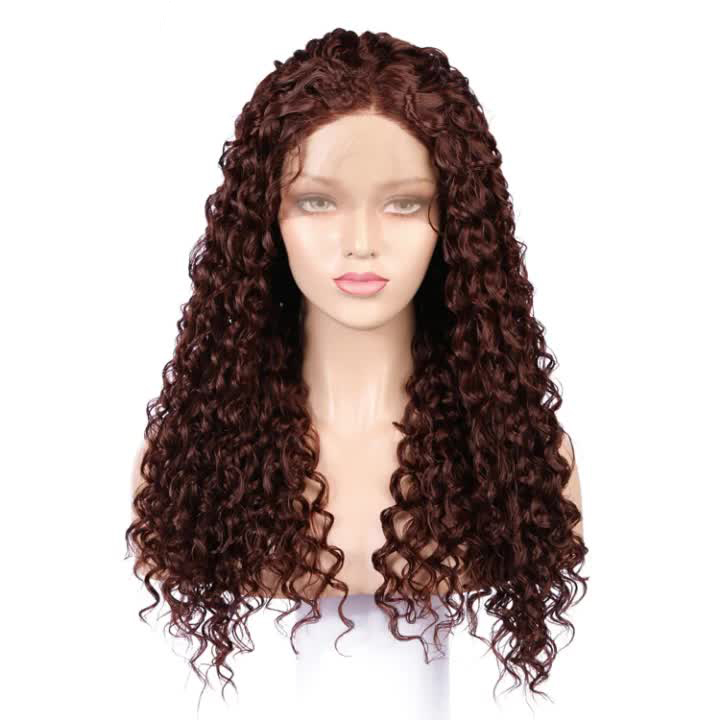 Brown Deep Wave Wigs 30# Front Lace Wigs Synthetic Hair Lace Front Wigs