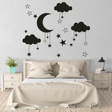 Baby Nursery Clouds Stars Wall Sticker Moon Vinyl Wall Decal Room Decor for Kids Rooms Girls Boys Playroom Bedroom Mural eco friendly custom name airplane clouds decal nursery decor boys kids room decor vinyl wall sticker airplanes with clouds y 80
