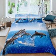 Parure de lit en microfibre pour adulte, ensemble de literie avec impression de dauphins en 3D, housse de couette légère, 90 jeunes, 240x220