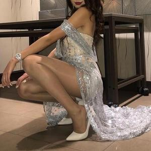 Image 2 - Misswim lungo Sexy trasparente delle donne del vestito 2019 di Estate paillettes vestiti da partito Delle Signore di Scintillio lucido aderente night dress Abiti XL