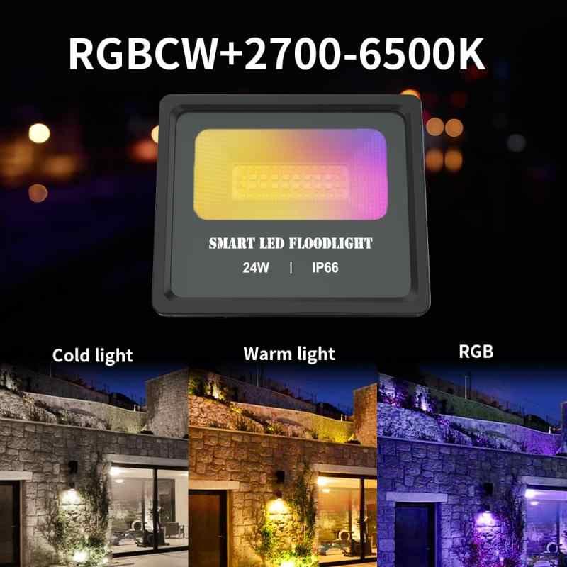 24w smart led floodlight outdoor lighting bluetooth bulb home wifi light bulb ip66 waterproof spotlight with alexa google home