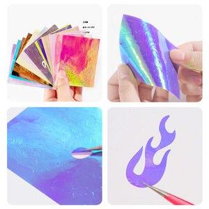 Image 4 - 16 шт. пламенная наклейка для ногтей Aurora Fire, полоса Голографическая лента, светоотражающая клейкая пленка, лазерная наклейка для дизайна ногтей