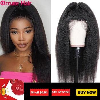 Ornate Hair-peluca rizada recta brasileña, pelucas de cabello humano Yaki para mujeres negras, peluca completa hecha a máquina de 8-26 pulgadas