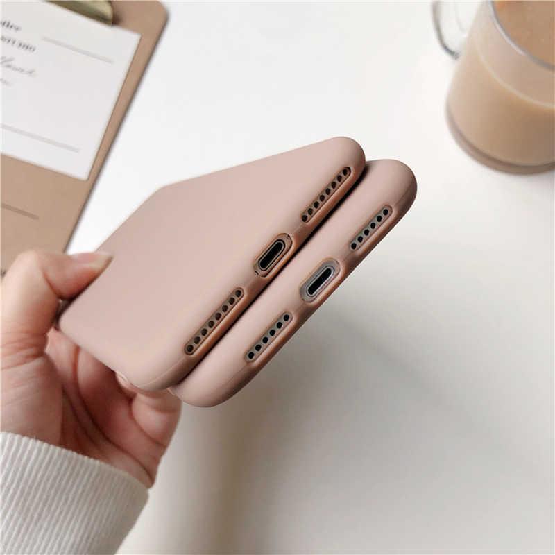 브라운 매트 전화 케이스 아이폰 11 프로 xs 맥스 xr x 8 7 6 s 6 플러스 se 5 5 s 실리콘 케이스 솔리드 컬러 소프트 tpu 뒷면 커버