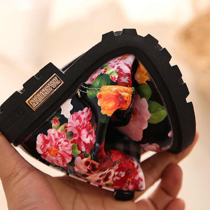2019 ฤดูหนาวหญิงแฟชั่นเด็กดอกไม้รองเท้าผู้หญิงสิทธิบัตรหนัง Martin รองเท้าสบายๆหนังรองเท้าเด็ก D30