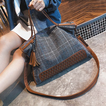 England Style Women Handbag Large Capacity Female Casual Totes Houndstooth Wool Cross Body Bags for Holiday Ladies Shoulder Bag цена 2017