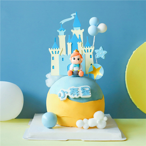 Image 2 - Royal Crown Castle Star Balloons Little Prince Boy Birthday Cake Topper Dessert Decoration for Party Lovely Gifts