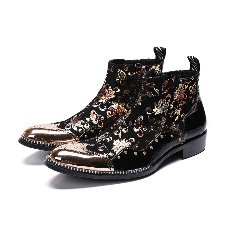Genuine Leather Zip Ankle Boots Fashion Rivet Flowers Bullock Carved Dress Shoes Pointed Toe Martin Boots Big Size 46