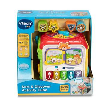 Vtech COS263656 Sort and Discover Activity Cube, Multi Color 9-36 Months Interactive Learning Fun Toy