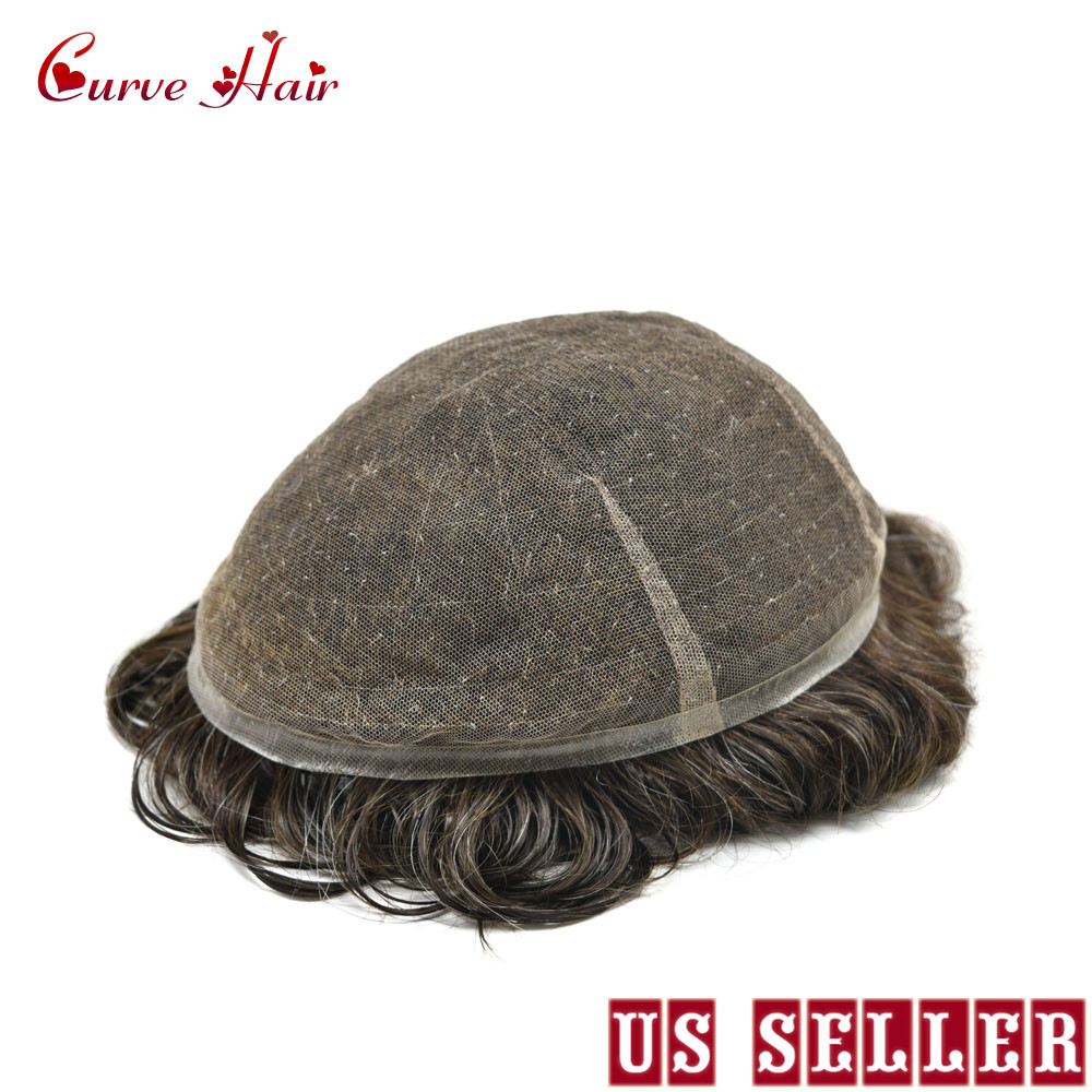US Full Swiss Lace Dark Brown Hairpiece All Lace Toupee For Men 100% Human Hair Replacement Light Density Mens Hair Systems