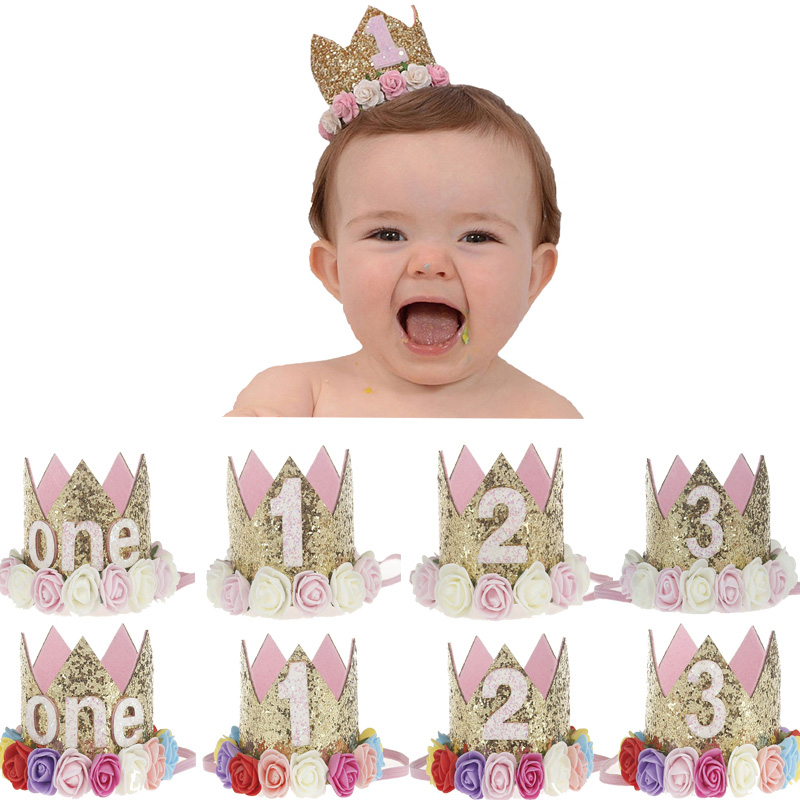 Birthday Party Hats Decor Cap First One Birthday Hat Princess Crown 1st 2nd 3rd Year Old Number Birthday Party Decorations Baby