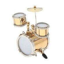 1/12 estatuilla de instrumentos musicales para casa de muñecas, juego de tambores dorados con regalo de Caja, manualidades para el hogar, regalo de decoración para la oficina en el hogar