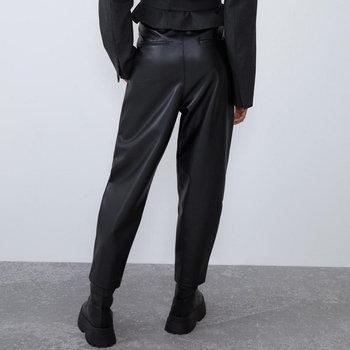 2020 New Fashion Autumn Winter Women High Waist Black Faux Leather Pants Lady PU Loose Pencil Trousers Elegant Pocket Streetwear 2