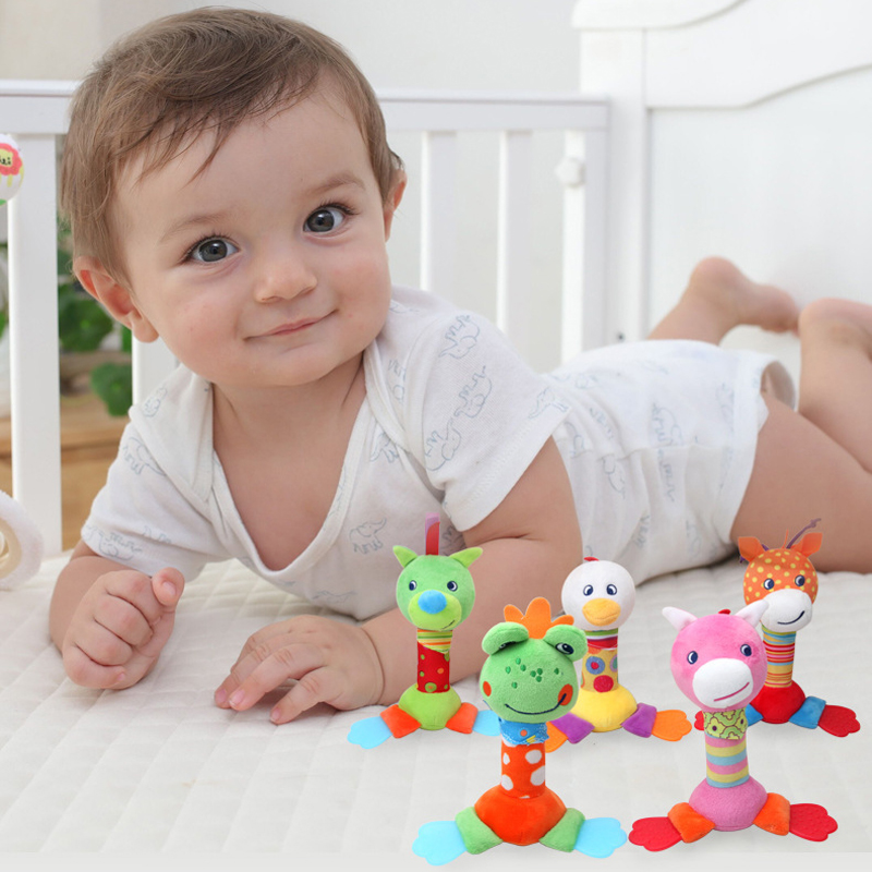 Baby Rattle Plush Toy Soft Cartoon Animal BIBI Stick Hand Rattle Strollers For Dolls Doll Rattle Baby Toys