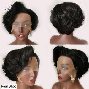 Image 3 - פיקסי לחתוך פאת תחרה מול פאות גלי קצר בוב רמי שיער 150% Glueless מתולתל שיער טבעי פאה מראש קטף קו שיער מולבן קשר