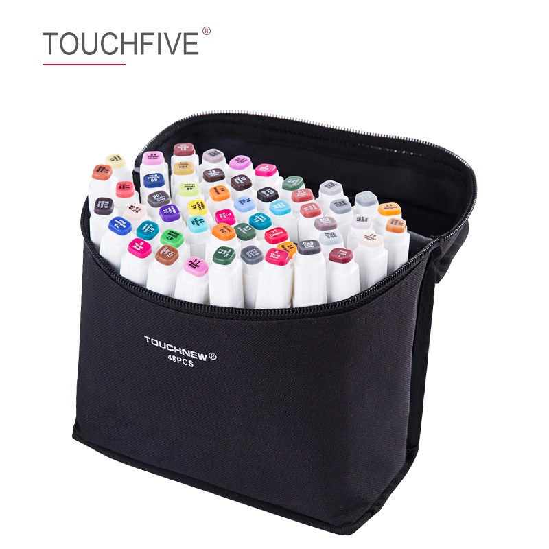 Touchfive 30/40/60/80Colors Dual Head Art Markers Pen Oily Alcoholic Sketch Marker Pen Art Supplies For Animation Manga Drawing