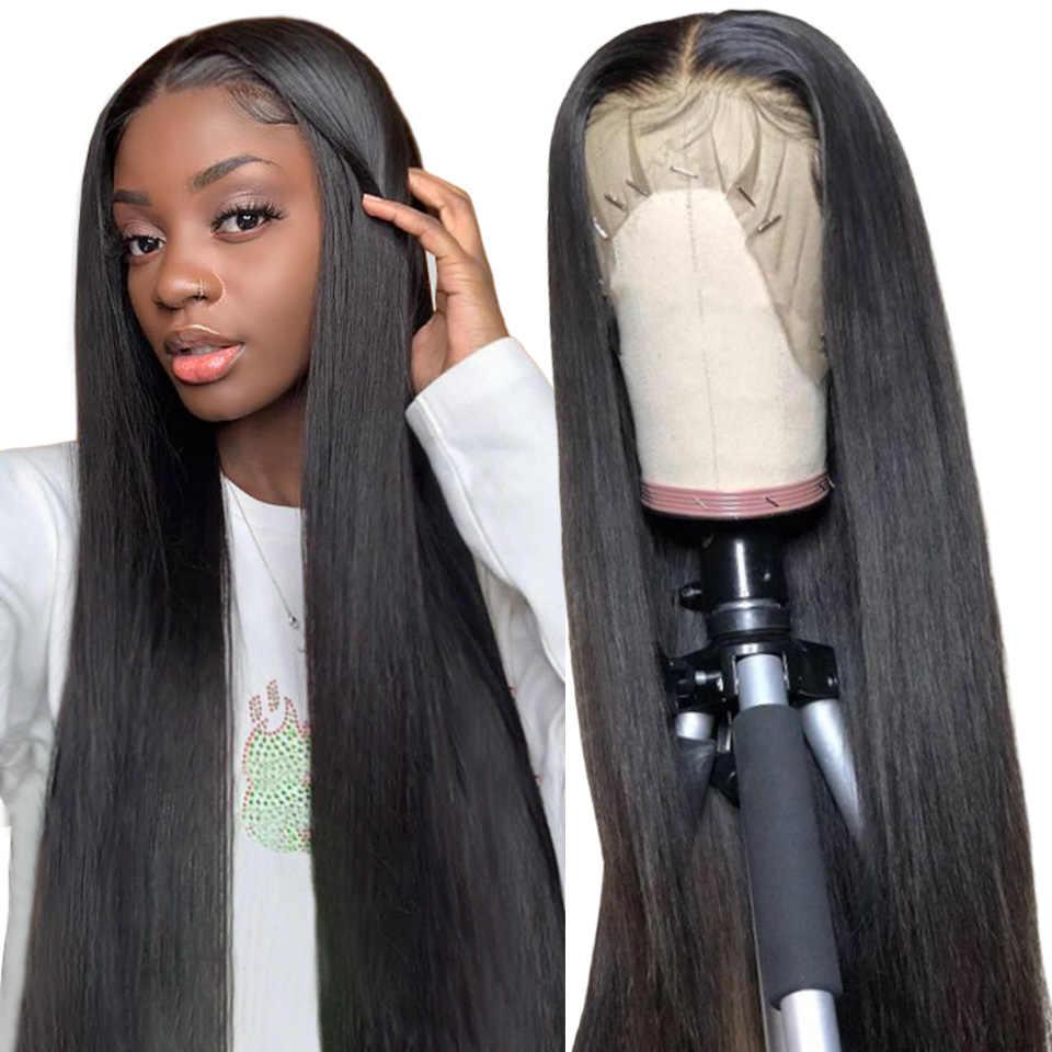 13x4 pelucas de cabello humano de encaje recto sedoso con cabello de bebé predesplumado peruano pelucas frontales de encaje recto Remy cabello Karizma