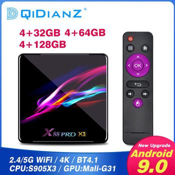 X88 PRO X3 Android 9 0 TV pudełko procesor Amlogic S905x3 Smart tv Box tv pudełko 4GB pamięci RAM 64GB 32GB zestaw Top odtwarzacz multimedialny box pk H96 MAX X96 MAX x96 mini tanie i dobre opinie DQiDianZ 100 M CN (pochodzenie) Amlogic S905X3 64-bit quad-core 16 GB eMMC Brak 4G DDR3 X88PROX3 DC 5 V 2A Karty TF Do 64 GB