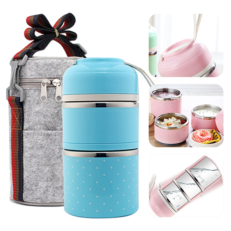 Portable Japanese-Style Lunch Box Stainless Steel Cute Beno Box Student Leak-Proof Food Container Kitchen Food Box