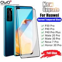 Gelatina Colla di Vetro Temperato Per Huawei P30 P40 Compagno di 20 30 Pro Protezione Dello Schermo Per Honor Nova 7 30 pro Plus Pellicola Protettiva