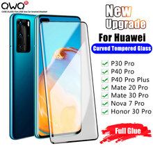 Jelly Full Glue Tempered Glass For Huawei P30 P40 Mate 20 30 Pro Screen Protection For Honor Nova 7 30 Pro Plus Protective Film