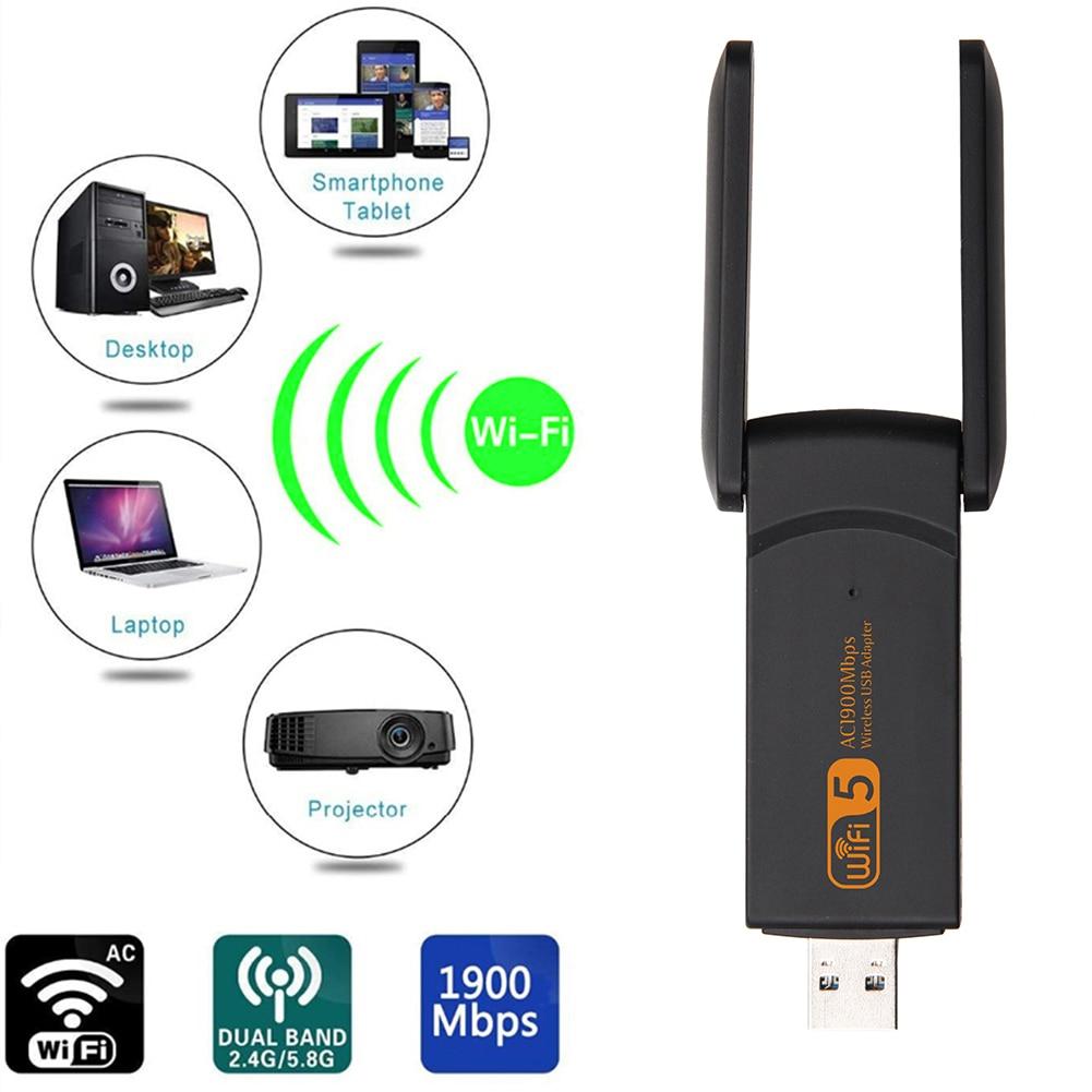 Wifi Adapter 1900M 2.4G 5G Dual Band Wifi USB 3.0 Fee Driver LAN Ethernet 1200M Network Card wireless Wifi Dongle Antenna