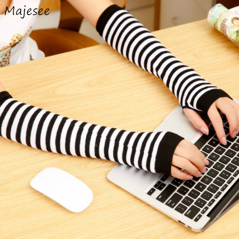 Arm Cuff Warmers Women Long Striped Simple All-match Cashmere Finger-less Warm Winter Vintage Womens Harajuku High Elasticity