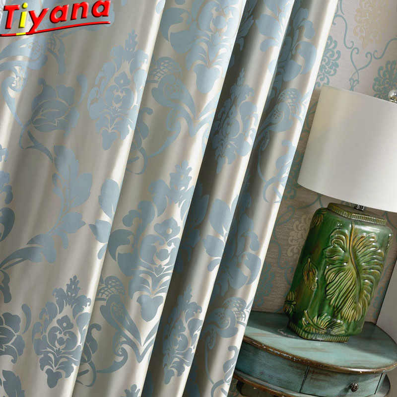 luxury upscale jacquard curtain fabric for living room embroidered white tulle blue jacquard cloth for bedroom w hm063 30