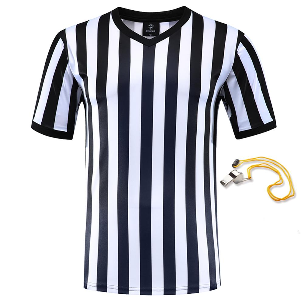 2019 Professional  Football Referee Uniform Custom Shirts Adult Black White Soccer Jerseys Training Clothes 1