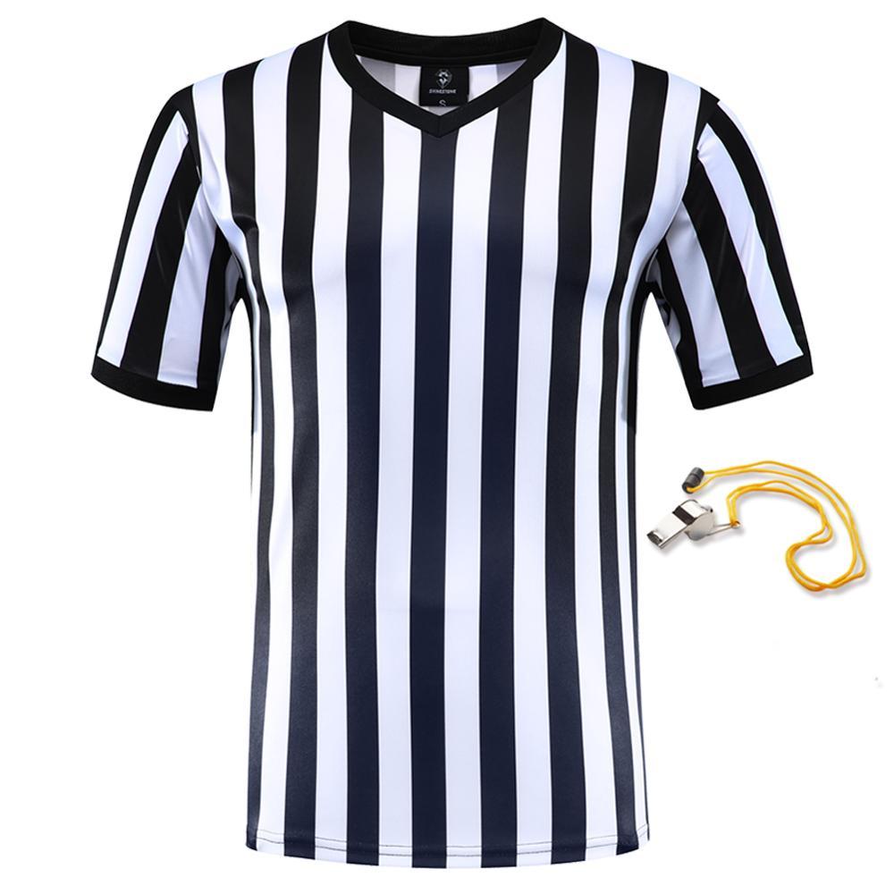 2019 Professional  Football Referee Uniform Custom Shirts Adult Black White Soccer Jerseys Training Clothes