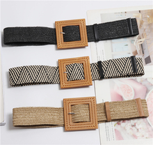 Summer Elastic Imitate Woven Straw Waist Belts Square Buckle Adjustable Woven-straw Waistband Bohemian Beach Dress BZ19