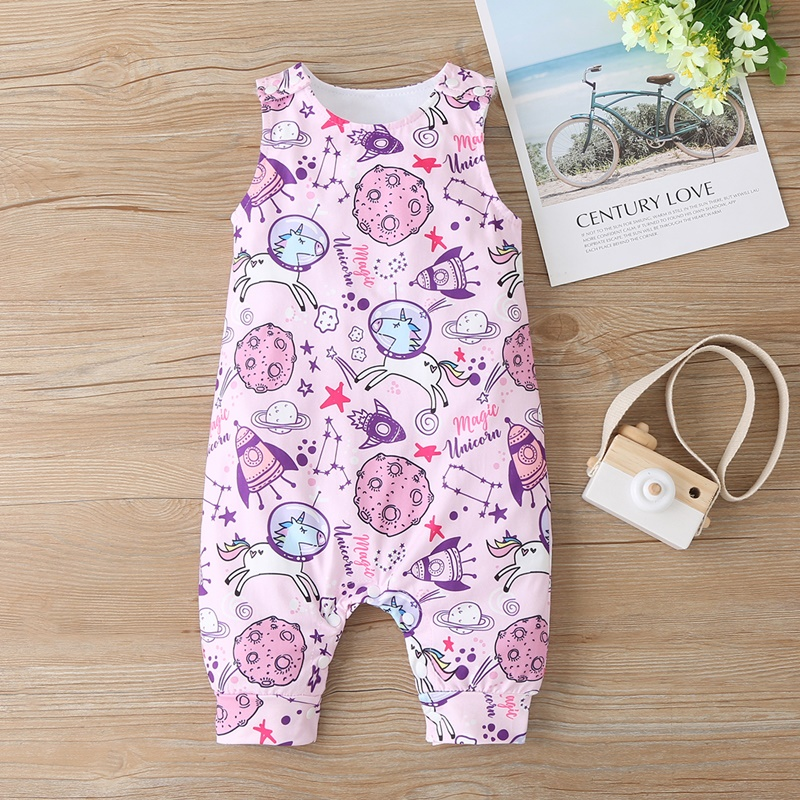 Baby Clothing Newborn Baby Boy Girl Romper Sleeveless Jumpsuit Outfit Clothes Animal Dinosaur Print Color Summer Infant Rompers 2