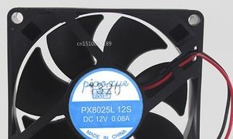 For PX8025L 12S 12V 0.08A 8cm 8025 Mute Cooling Fan 80 * 80 * 25MM Free Shipping