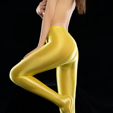 Leggings Pants Sexy Shiny Full-Pencil Plus-Size Women F24 Lingerie Smooth Candy-Color