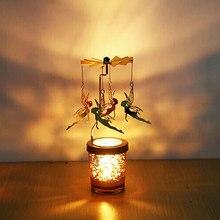 Candlestick Tealight Hanging Wedding-Carousel Spinning Metal Deer Windmill Rotate Romantic