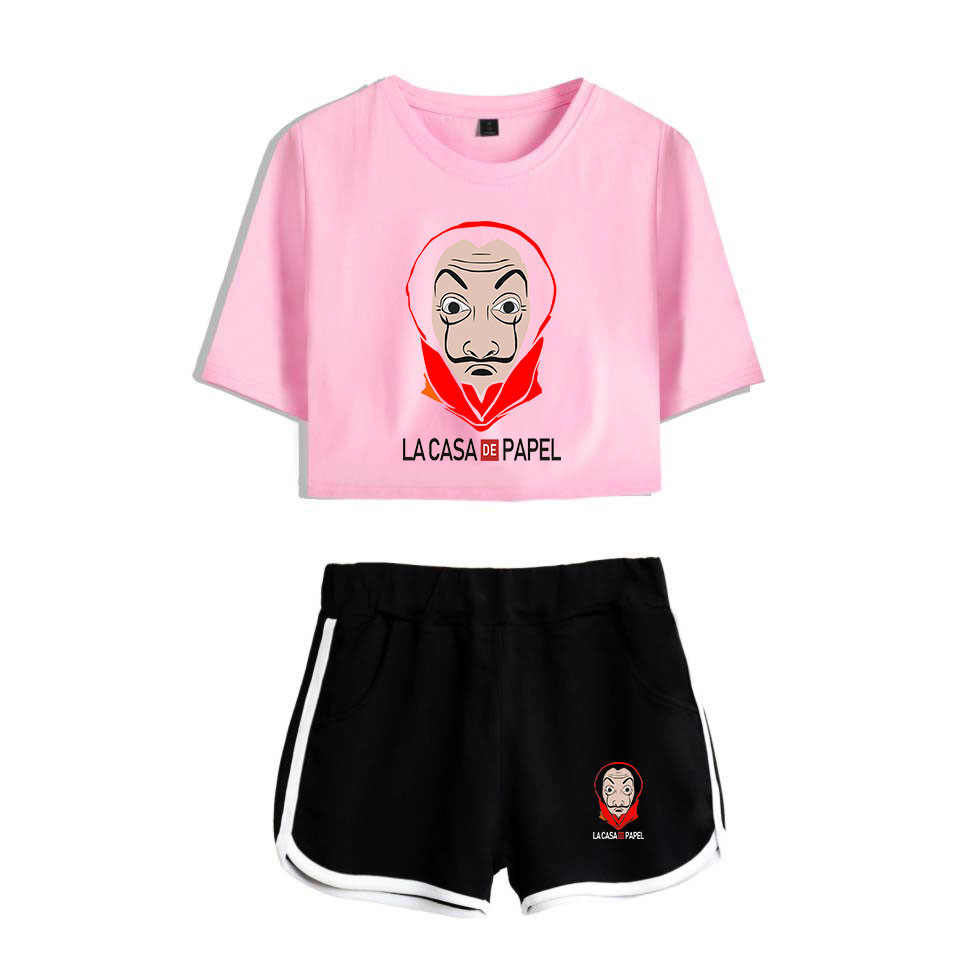 La Casa De Papel Crop Top + Shorts Sweat Suits Women Tracksuits Money Heist House of Paper Summer Two Piece Outfit Streetwear
