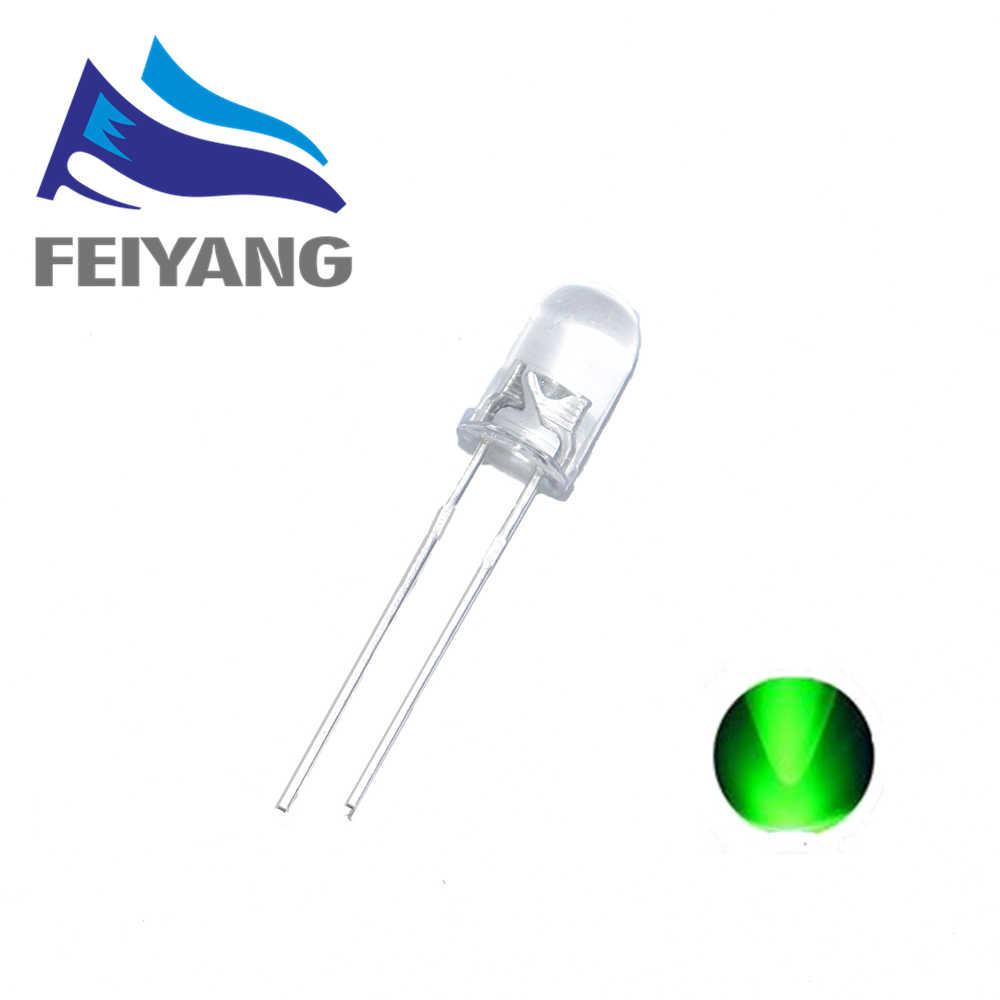 100PCS 5mm Round Green Water Clear LED Light Diodes Kit
