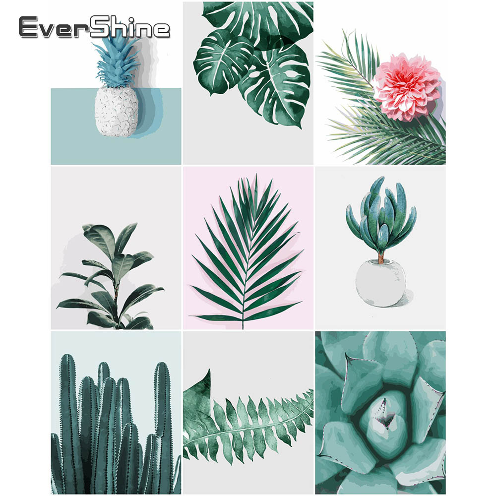 EverShine Oil Paint By Numbers Plant Hand Painted Wall Art DIY Kits Drawing Canvas Leaf Home Decoration