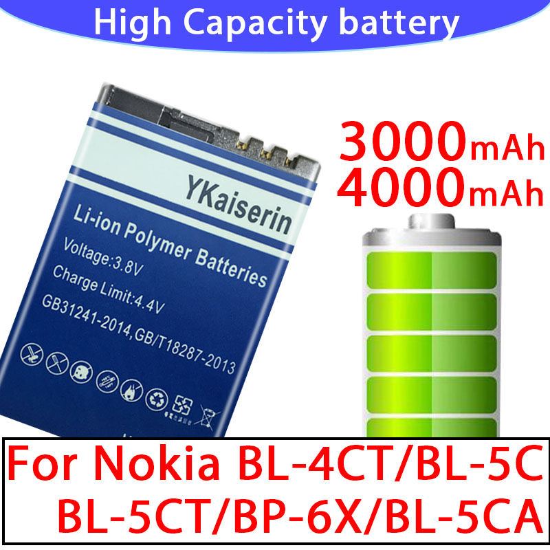 High Capacity Battery BL-5C BL-5CA BL-4CT BL-5CT BP-6X Batterij for Nokia Bl 5C 5CB 5CA 5CT 4CT BP 6X Batteries + Tracking Code(China)