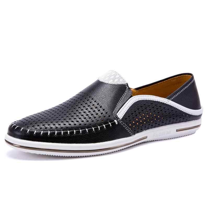 2019 Nieuwe Zomer Hollow Out Ademend Echt Leer Toevallige Mannelijke Schoenen Voor Mannen Volwassen Loafers Slip Op Sneakers Rijden Mocassins