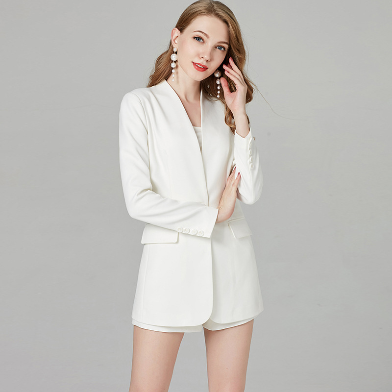 2019 Summer And Autumn New Style Yang Mi Celebrity Style WOMEN'S Suit Jacket + Shorts Set Women's Small Suit Jacket White