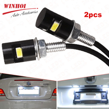 Winhoi 2pcs Motorcycle Car License Plate Light DC12V 5730 LED Screw Bolt Light Auto Motor Licence Plate Light Taillight Lamp