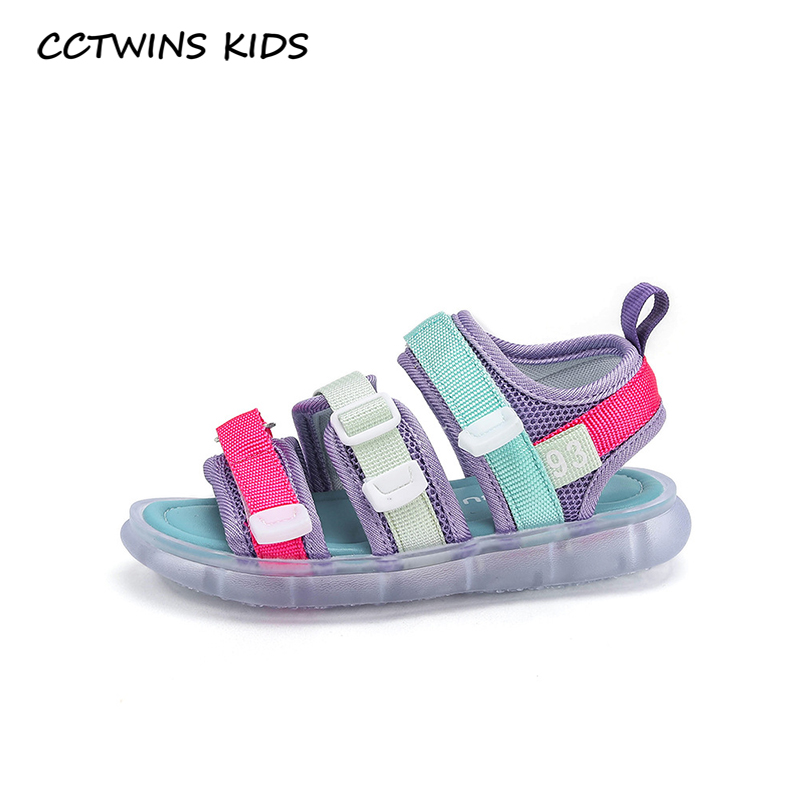 CCTWINS Kids Shoes 2020 Summer Baby Boys Brand Led Light Shoes Children Casual Soft Shoes Girls Fashion Beach Sandals  BL014